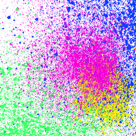 Colorful acrylic paint splatter, blob on white background. Neon spray stains abstract background, vector illustration. Ilustração