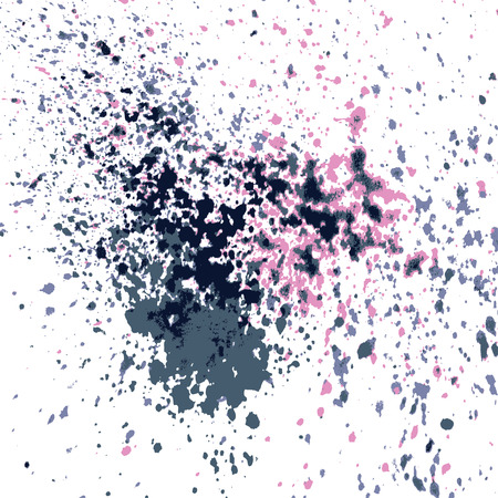 Colorful acrylic paint splatter shiny, blob on white background. Neon glowing spray stains abstract background, vector illustration. Illustration