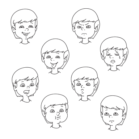 child tongue: Child face emotion gestures, black and white vector illustration, set collection. Boy smiling, laughing, angry, crying, showing tongue, whistles, thoughtful Illustration