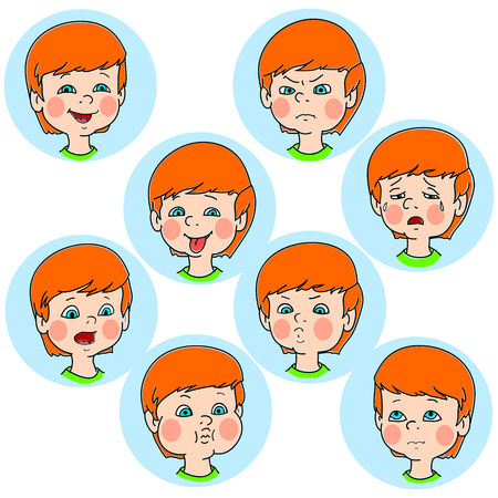 ashamed: Child face emotion gestures, vector illustration, set collection. Boy smiling, laughing, angry, crying, showing tongue, whistles, thoughtful Illustration