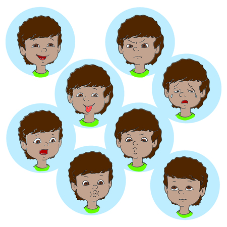 child tongue: Child face emotion gestures, vector illustration, set collection. Boy smiling, laughing, angry, crying, showing tongue, whistles, thoughtful Illustration