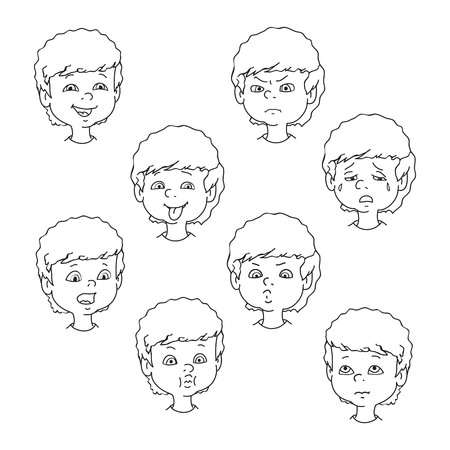 child tongue: Child face emotion gestures, black and white vector illustration, set collection. Boy curly smiling, laughing, angry, crying, showing tongue, whistles, thoughtful