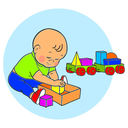 Little lovely baby boy playing with toys. Kid plays with pyramid. Kid plays with constructor train from geometric shapes. Kid builds house from cubes. Colorful vector illustration