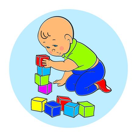 Peu beau bébé garçon jouant avec des jouets. Kid joue avec pyramide. Kid joue avec le train de constructeur de formes géométriques. Kid construit maison de cubes. Colorful illustration vectorielle