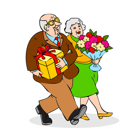 older couple: Happy elderly couple with a bouquet of flowers and a gift. Funny older man and a woman go on celebration. Festively dressed old couple. Colorful cartoon vector illustration on white background