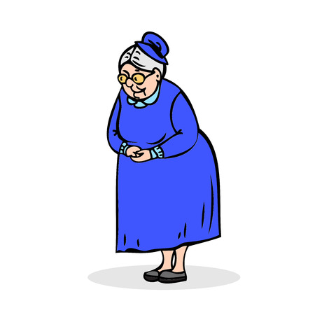 folded hands: Elderly lady with glasses. Grandmother standing with folded hands. Festively dressed old woman in a hat. Colorful cartoon vector illustration on white background Illustration