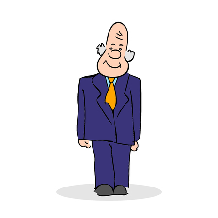old business man: Funny old man stands. Business elderly man smiling, wearing a suit and a tie. Colorful cartoon vector illustration on white background