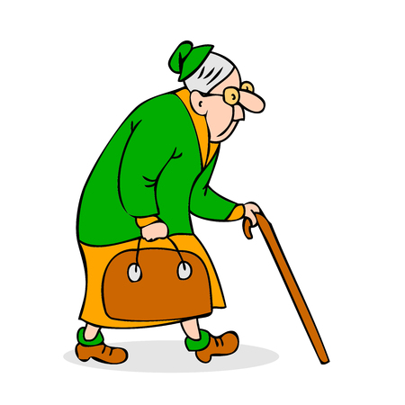 Old woman with cane and a bag. Grandmother with glasses walking. Hunched elderly lady with a cane. Colorful cartoon vector illustration on white background Illustration