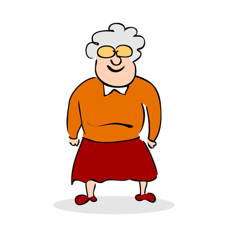 funny elderly: Funny elderly lady with glasses. Grandmother standing. Colorful cartoon vector illustration on white background