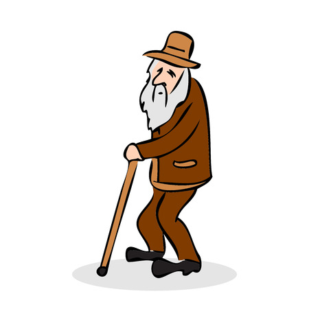 hunched: Funny old man with hat and walking cane. Grandfather with a long beard. Colorful cartoon vector illustration on white background