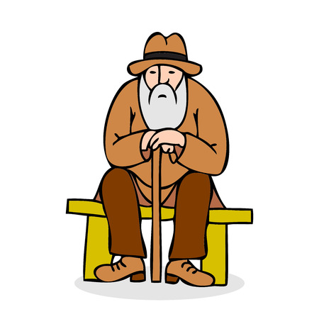 hunched: Funny old man with hat and walking cane. Grandfather with a long beard sitting on a bench. Colorful cartoon vector illustration on white background