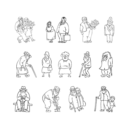 retired: Aged people set black, white vector illustration. Scene with elderly people - retired, recreation, gardening, walking elderly couple, grandfather and grandson, couple with bouquet, gift, elderly sitting