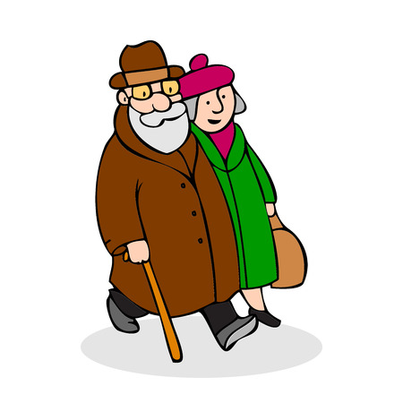 Happy elderly couple walking. Funny older man with a cane and a hat and woman in a beret and with a bag walk. Old couple dressed in coat. Colorful cartoon vector illustration on white background
