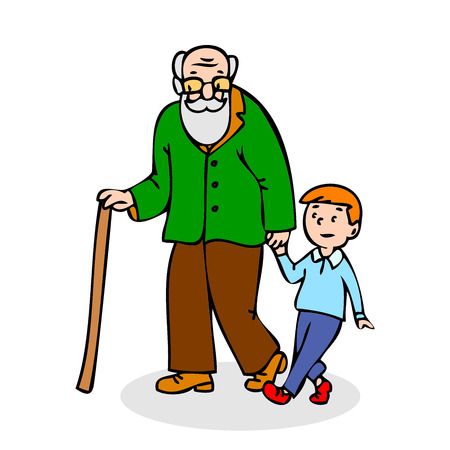 hunched: Grandfather with grandson. Funny old man with walking cane and with boy. Colorful cartoon vector illustration on white background