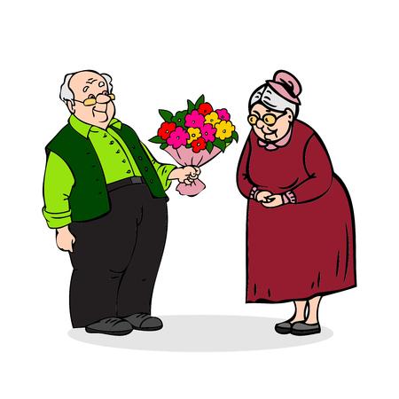 Heureux couple de personnes âgées. Vieil homme avec un bouquet de fleurs. Les hommes âgés donne bouquet de dame âgée. homme drôle plus âgé et une femme. Festively habillé vieux couple. Colorful illustration de vecteur de bande dessinée sur fond blanc