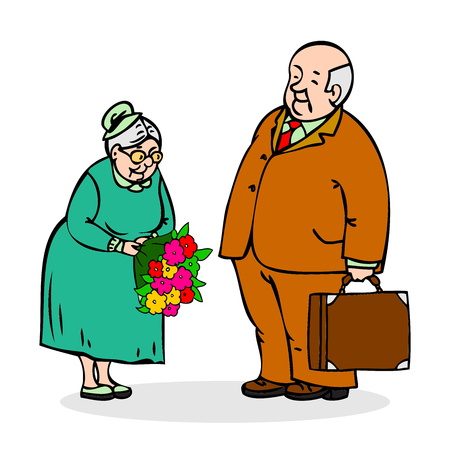 older couple: Happy elderly couple. Old man with a bouquet of flowers. Elderly men gives bouquet of elderly lady. Funny older man and a woman. Festively dressed old couple. Colorful cartoon vector illustration on white background Illustration