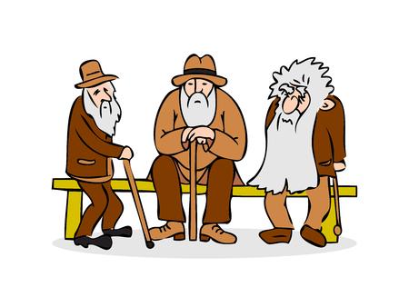 Gracioso tres viejos sentados en el banquillo. Anciano con sombrero y bastón. Triste abuelo con una larga barba sentado en un banco. Antigua charla grupal. Ilustración de vector de dibujos animados coloridos sobre fondo blanco