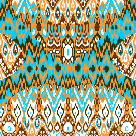 bohemian: Patchwork ethnic bohemian arabesque pattern print. Seamless zigzag geometric ornament abstract background. Colorful tribal graphic ethnic bohemian print vintage Illustration