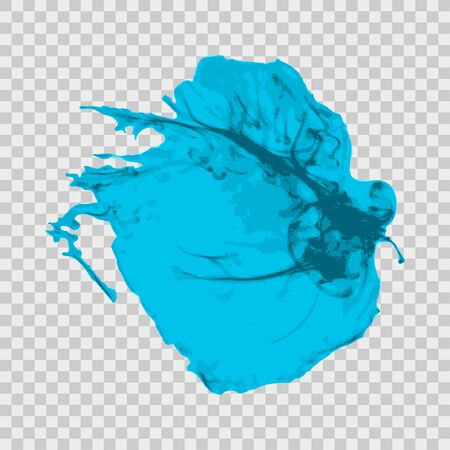 transparent brush: Cyan brush paint stroke with rough edges isolated on transparent gray background. Splash abstract background, frame vector illustration.