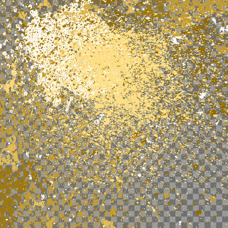 Illustration of confetti explosion effect isolated on transparent gray background. Space star explosion of paint splatter. Gold splash abstract background, blob frame vector illustration. Ilustração