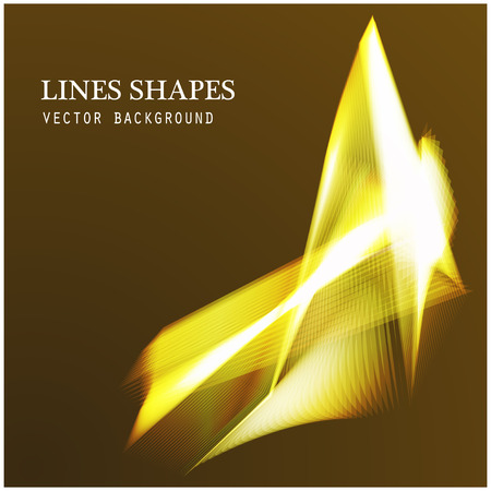 dazzling: Lines shapes lighting abstract on golden dark background. Vector expanding light gold. Smooth golden abstract background with a slight glow effect and a space for your text or images