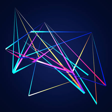 power projection: Colorful Lines shapes abstract isolated on blue dark background vector illustration
