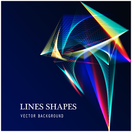 expanding: Lines shapes light abstract on blue dark background. Vector expanding light. Smooth abstract background with a slight glow effect and a space for your text or images