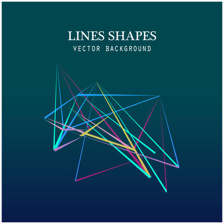 cusp: Colorful Lines shapes abstract isolated on blue dark background vector illustration