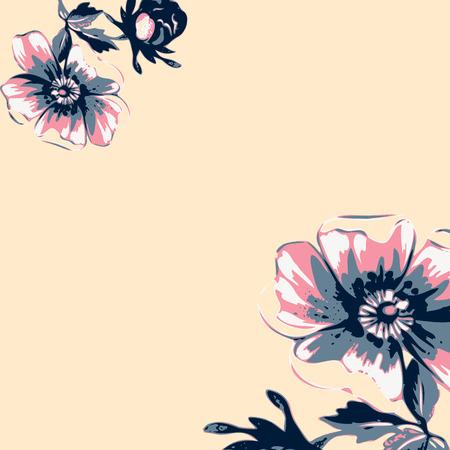 Vintage wallpaper frame rose flower pattern on beige background. Vector illustration Banco de Imagens