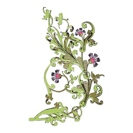vegetal: Hand drawn illustration of twig with flowers and leaves Baroque vector. Cornflowers. Colorful Vegetal ornament vertical on white background Stock Photo