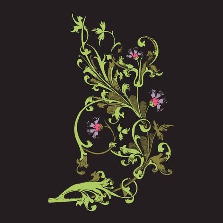 vegetal: Hand drawn illustration of twig with flowers and leaves Baroque vector. Cornflowers. Colorful Vegetal ornament vertical on black background Stock Photo