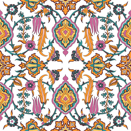 tile pattern: Vector tile oriental floral seamless, ethnic drawing arabic pattern floral ancient, arabesque floral curled pattern tile