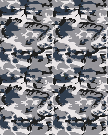 masking: Camouflage pattern background seamless vector illustration. Classic clothing style masking camo repeat print. Gray black white colors forest winter texture