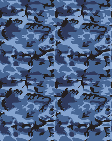 masking: Camouflage pattern background seamless vector illustration. Classic clothing style masking camo repeat print. Blue colors marines texture Illustration