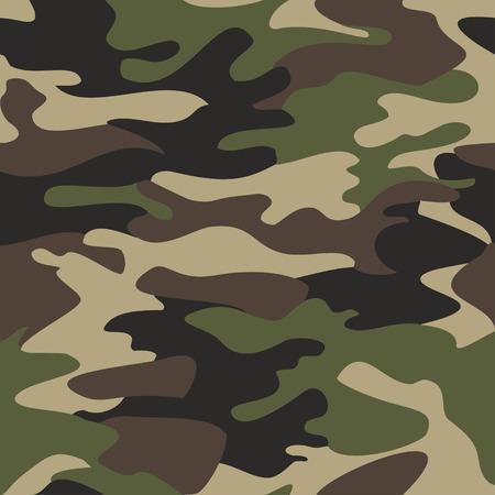 Camouflage pattern di sfondo senza soluzione di continuità illustrazione vettoriale. mascheramento camo ripetizione stampa stile di abbigliamento classico. Verde marrone nero i colori di ulivo foresta tessitura