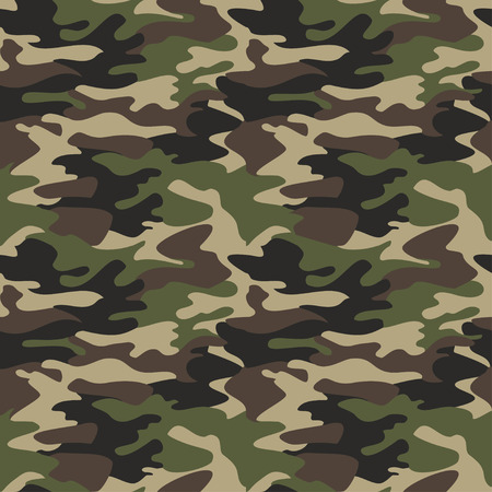 Camouflage pattern background seamless vector illustration. Classic clothing style masking camo repeat print. Green brown black olive colors forest texture 版權商用圖片 - 62790129