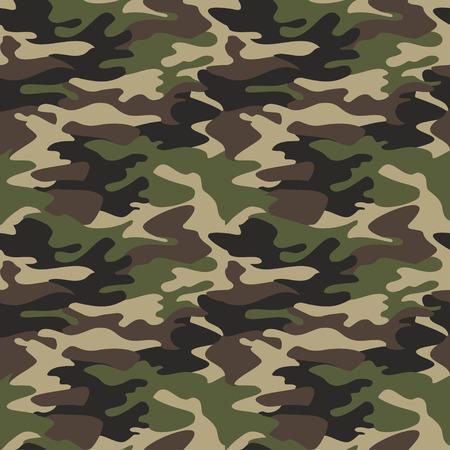 Camuflaje patrón de fondo sin fisuras ilustración vectorial. Clásico enmascaramiento camo repetición de impresión estilo de ropa. colores verde oliva negro textura marrón del bosque Ilustración de vector