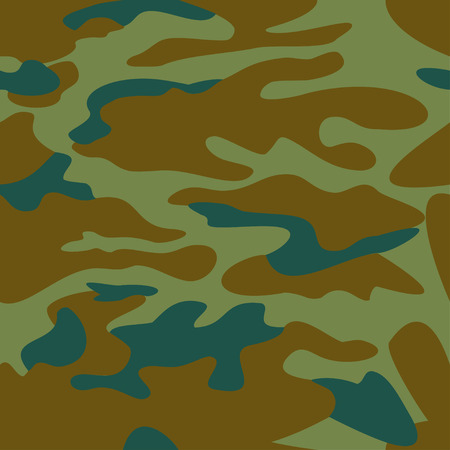 masking: Camouflage pattern background seamless vector illustration. Classic clothing style masking camo repeat print. Green brown khaki olive colors forest texture