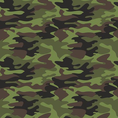 masking: Camouflage pattern background seamless vector illustration. Classic clothing style masking camo repeat print. Green brown black olive colors forest texture