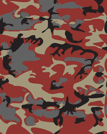 masking: Camouflage pattern background seamless vector illustration. Classic clothing style masking camo repeat print. Red black gray colors forest texture