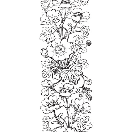 dashes: Floral bush retro black on white background vector, hand drawn decorative flower vintage contour, closeup branch with flowers and buds print design