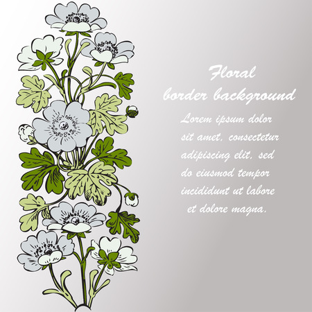dashes: Floral bush retro on white background vector, hand drawn decorative flower vintage contour, closeup branch with flowers and buds print design