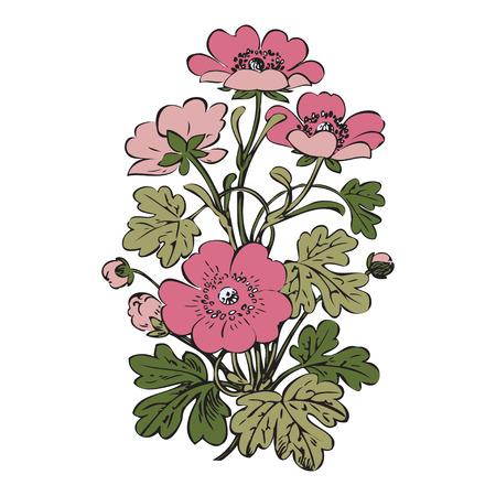 Floral retro krzew na białym tle Wektor, ręcznie rysowane kwiatu dekoracyjne rocznika kontur, zbliżenie gałęzi projektu kwiaty i pąki druku Ilustracje wektorowe
