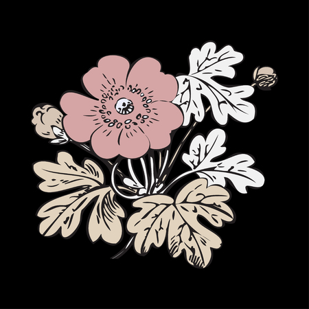 dashes: Floral bush retro on black background vector, hand drawn decorative flower vintage contour, closeup branch with flowers and buds print design