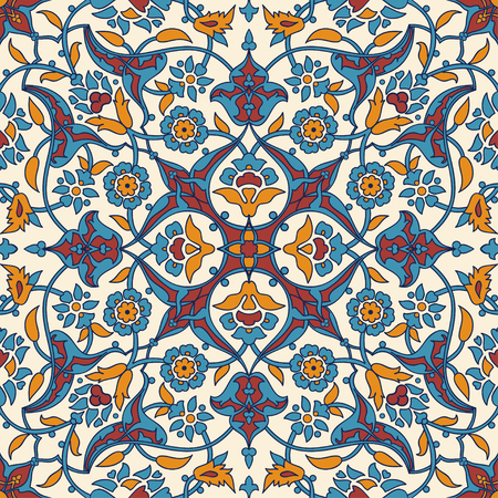 tile pattern: Stylized flowers oriental wallpaper retro seamless abstract background vector, decoration tile print oriental tribal floral ornament paisley, arabesque floral pattern tile vintage Illustration