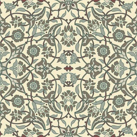 retro wallpaper: Stylized flowers oriental wallpaper retro seamless abstract background vector, decoration tile print oriental tribal floral ornament paisley, arabesque floral pattern tile vintage Illustration