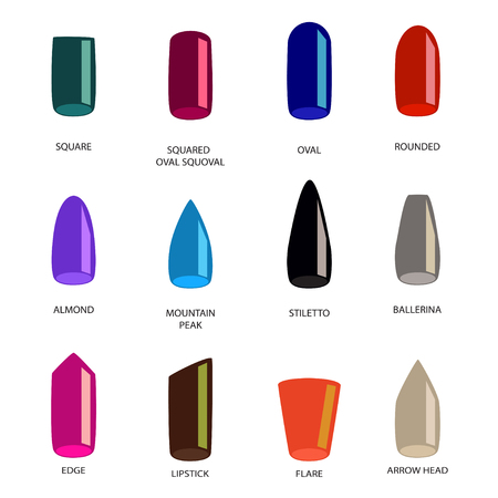 Set of different shapes of nails on white. Nail shape icons. Manicure polish. Illustration