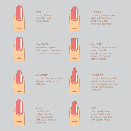 sophistication: Set of different shapes of nails on gray. Nail shape icons. Manicure polish. Illustration
