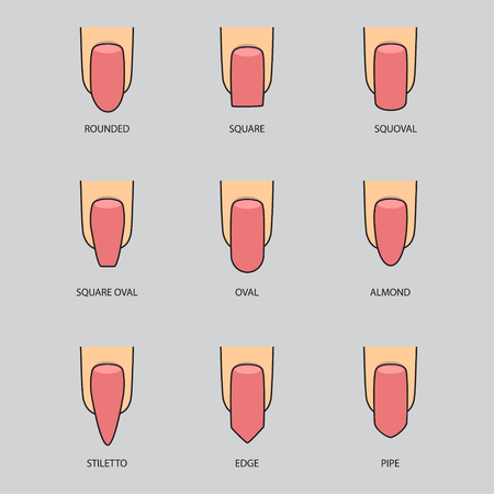 Set of different shapes of nails on gray. Nail shape icons. Manicure polish. Illustration