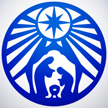 holy family: Holy family Christian silhouette icon illustration on white background. Scene of the Holy Bible